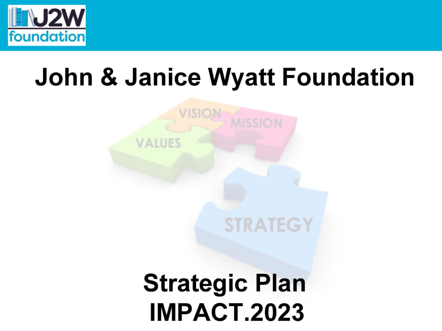 John & Janice Wyatt Foundation banner with colored puzzles